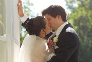Hochzeitsfoto im Freien aufgenommen